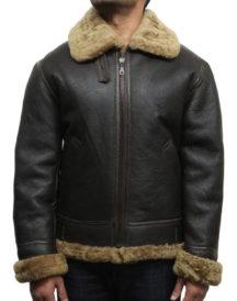Real Shearling Sheepskin Flaying Black Leather Jacket