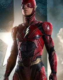 The Flash Justice League Ezra Miller Red Leather Jacket