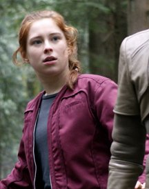 Mina Sundwall Red Jacket in Lost in Space
