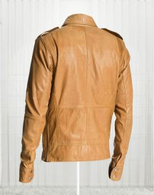 50 Cent Lisardo Tan Brown Leather Jacket