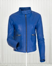 Agusta Women's Fashion Leather Blue Jacket