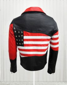 Amazing American Flag Cow Leather Jacket