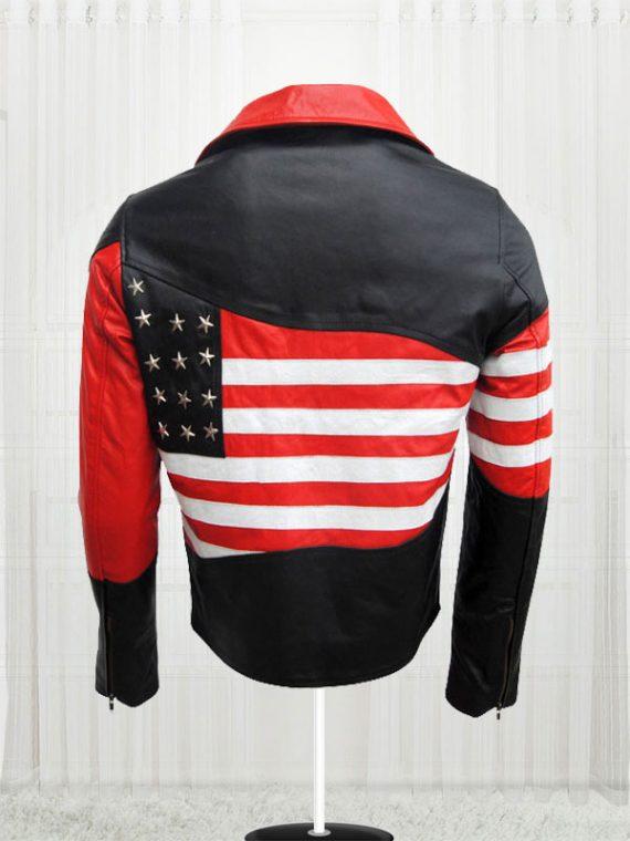 Amazing American Flag Cow Leather Jacket