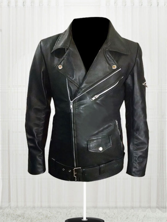Women American Flag Biker Leather Jacket - Stars Jackets