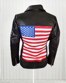 America Flag Women Motorcycle Leather Jacket