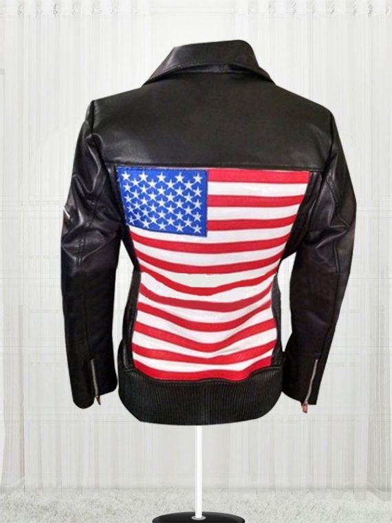 America Flag Women Motorcycle Leather Jacket