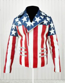 American Flag White Double Breasted Jacket