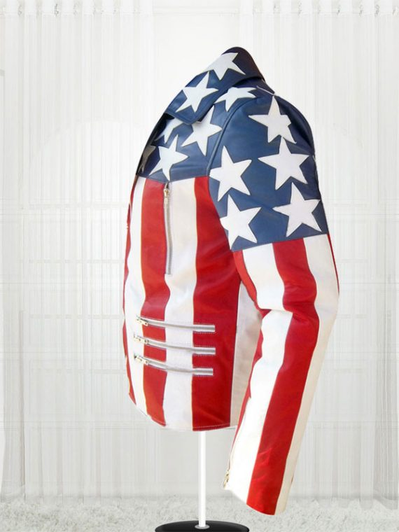 American Flag White Double Breasted Leather Jackets