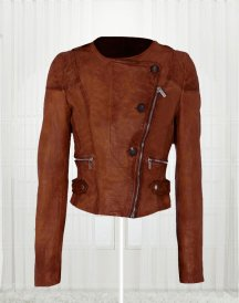 Ashley Benson Collarless Leather Jacket