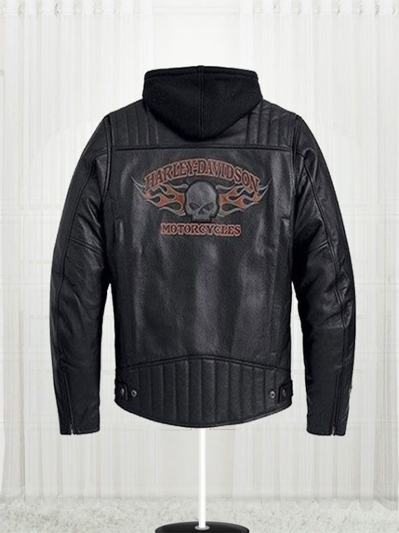 Burning Skull Biker Harley Davidson Leather Jacket