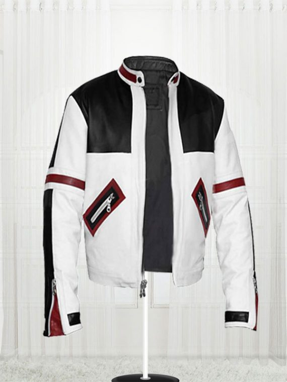 Chaser Box White Men's Motorcycle Leather Jacket