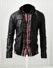 Classic Black Button Pocket Leather Jacket
