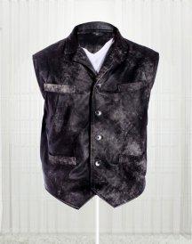 Cowboy Distressed Stylish Black Vest