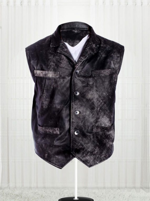 Cowboy Distressed Stylish Black Vest