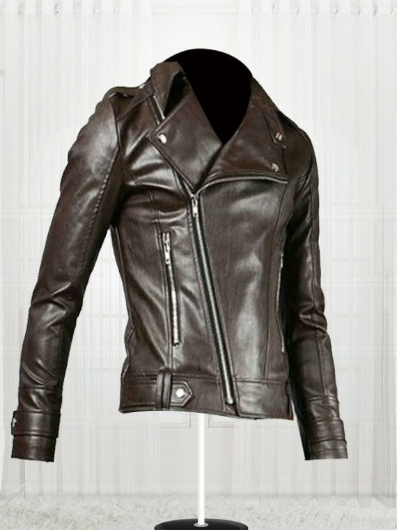 Fascinating Biker For Men's Brown Leather Jacket