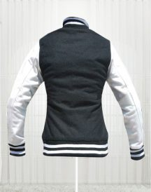 Kim Kardashian Simone Varsity Bomber Design Moda Jacket in Black & White