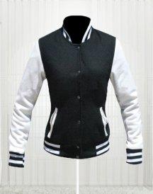 Kim Kardashian Simone Varsity Bomber Design Moda Jackets in Black & White