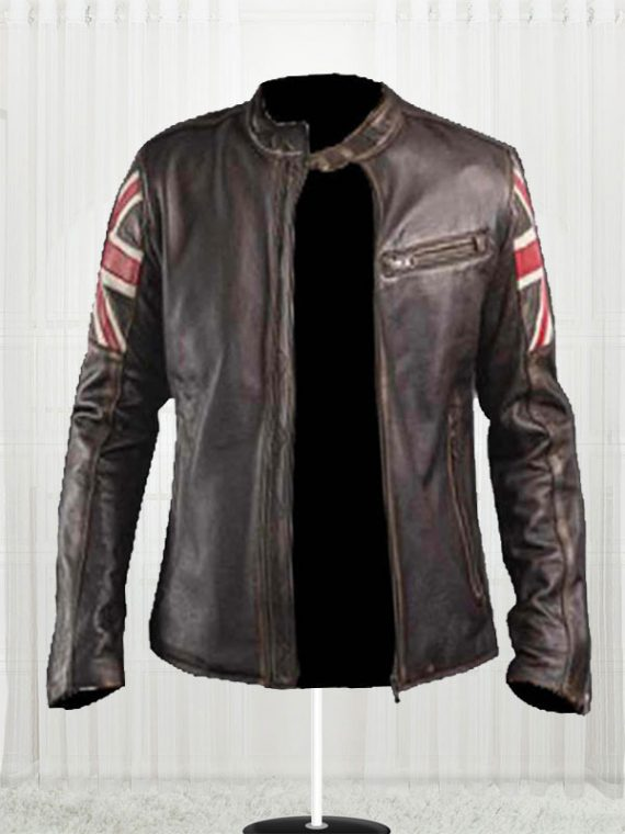 Men's Biker UK Flag Leather Jacket