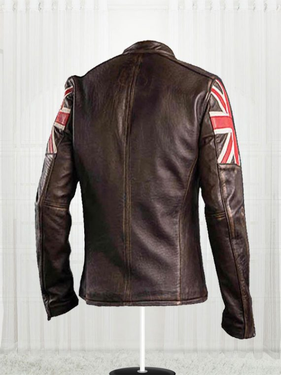 Mens Biker Union Jack Jacket