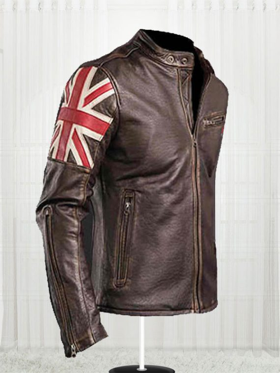 Mens Biker Union Jack Jackets