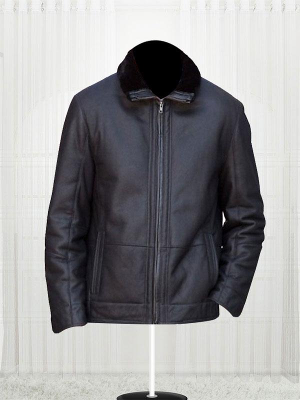 Mens Fj14 Shearling Black Leather Jacket Stars Jackets