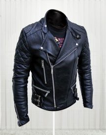 New Handsome Men Slim Fit Bikers Black Leather Jacket