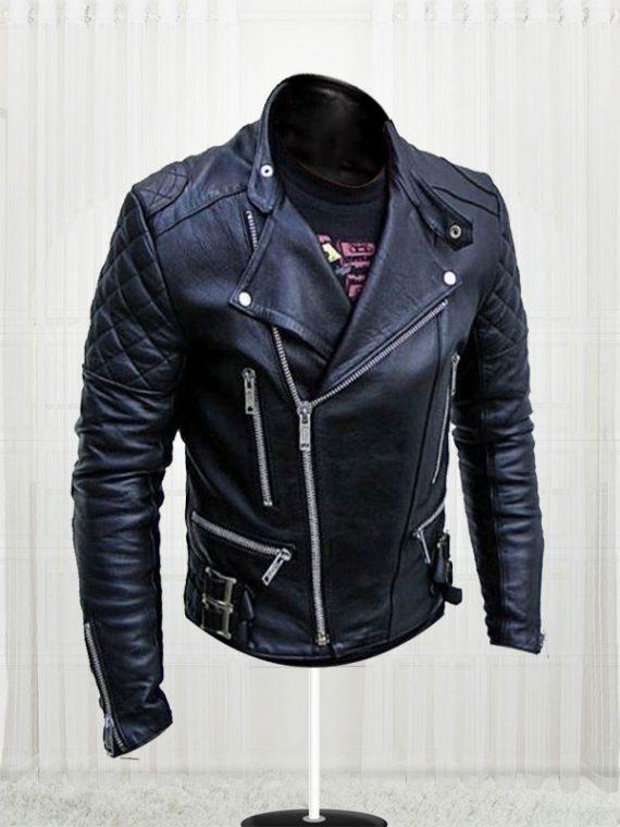 New Handsome Men Slim Fit Bikers Black Leather Jacket