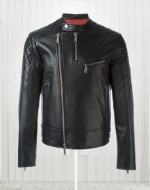 Quilt Sleeved Stylish Black Leather Jacket