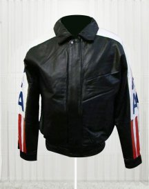 Shirt Collar Flag Leather Jacket