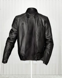 Slim Fit Bikers Black Leather Jacket For Men's