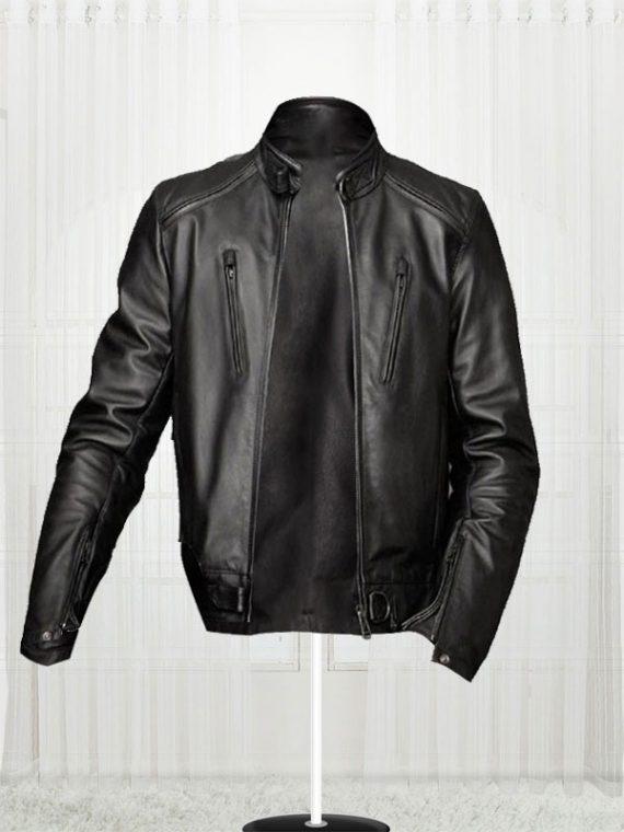 Slim Fit Bikers Black Leather Jacket For Men's