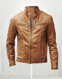 Slim Fit Bikers Men's Tan Brown Leather Jacket