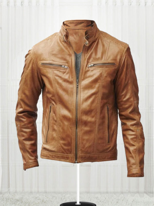 Men's Tan Slim Fit Biker Jacket - Stars Jackets