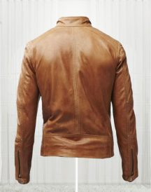 Slim Fit Bikers Men's Tan Brown Leather Jackets