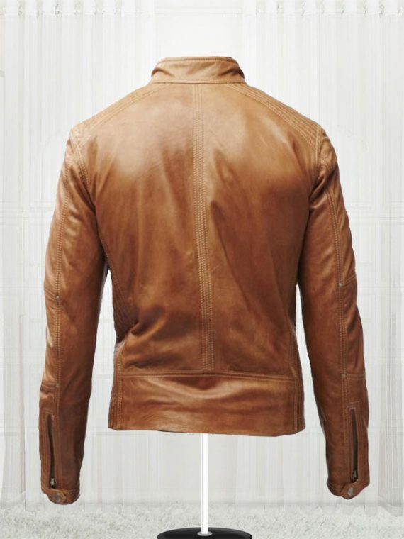 Slim Fit Bikers Men's Tan Brown Leather Jackets
