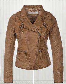 Women Biker Slim fit Fashionable Brown Leather Jacket