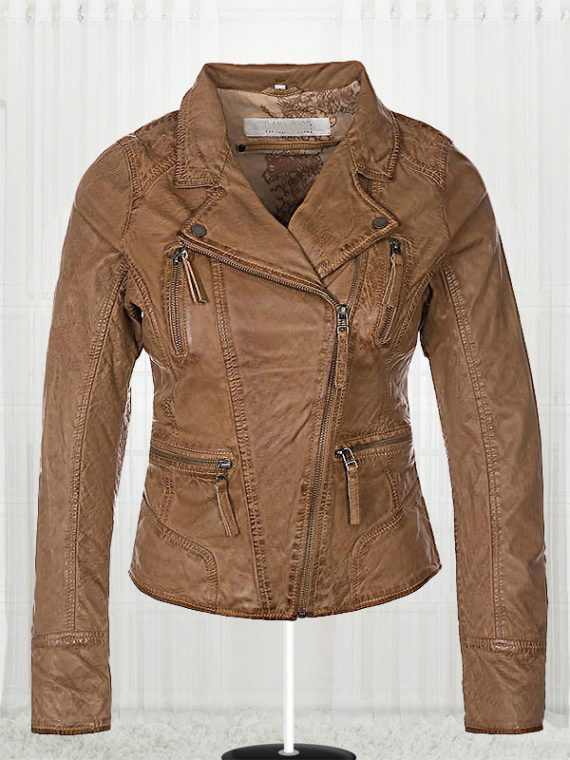 Women Biker Slim fit Fashionable Brown Leather Jacket