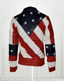 Womens American Flag Leather Biker Jacket
