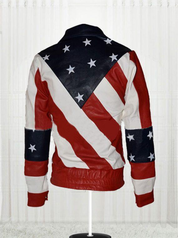 Womens American Flag Leather Biker Jacket