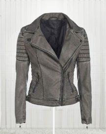 Women's Antique Stylish Biker Leather Grey Jacket