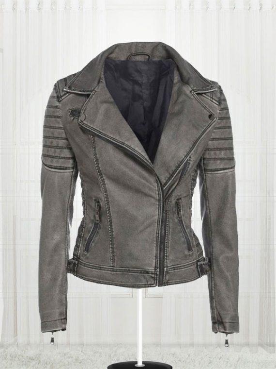 Women's Antique Stylish Biker Leather Grey Jacket