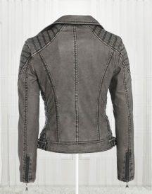 Women's Antique Stylish Biker Leather Grey Jackets