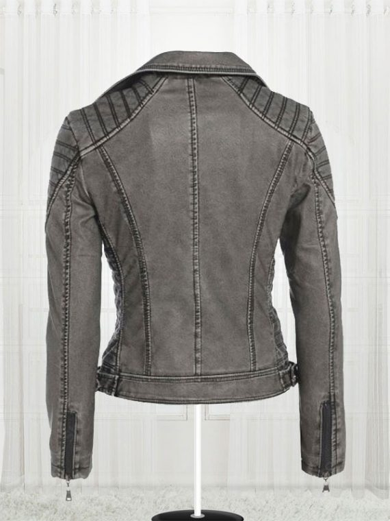 Women's Antique Stylish Biker Leather Grey Jackets