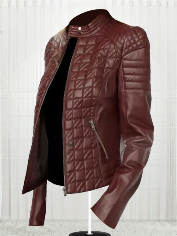 Women's Designer New Fashionable Brown Leather Jacket