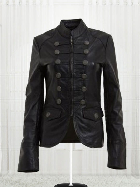 Womens Military Style Faith Leather - Stars Jackets