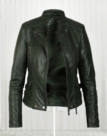 Women's Olive Green Biker Leather Jacket