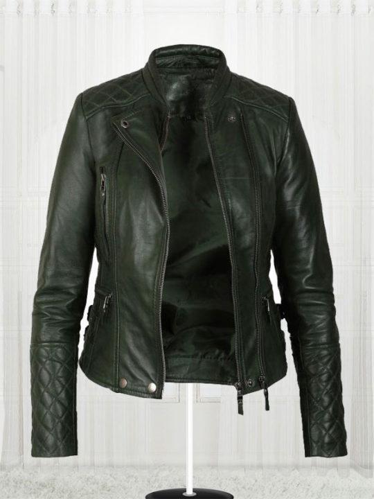 Women's Olive Green Biker Jacket - Stars Jackets
