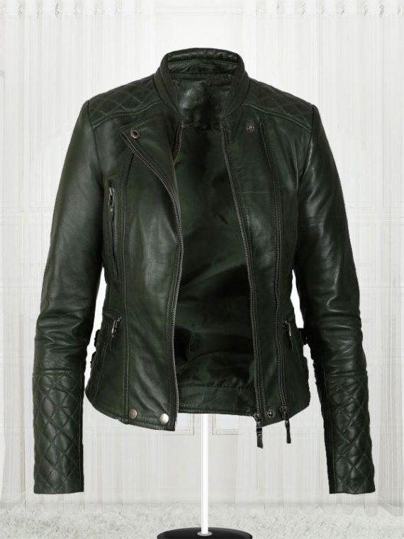 Women's Olive Green Biker Leather Jacket