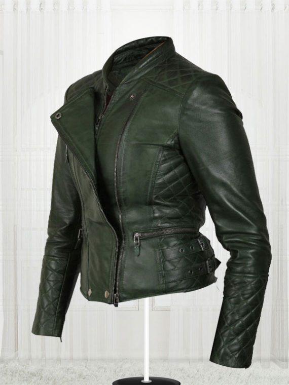 Women's Olive Green Biker Leather Jackets