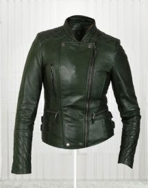 Women's Olive Green Biker New Fashionable Leather Jackets